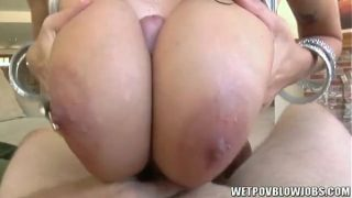Alia Janine with huge natural tits gives wet titty fuck
